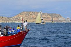 Clean Seas Dodging The Spectator Boats Volvo Ocean Race Alicante 2017 Stock Photography