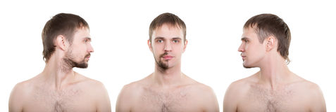 Clean-shaven man in half Stock Photography