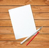 Clean sheet blank with fountain pen and red pencil on wooden bac Stock Photo