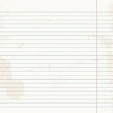 Clean sheet of exercise book striped. Stock Photo