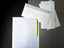 Expense planning. Clean sheet of paper on desk Stock Images