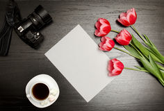 Clean sheet of paper, pink tulips, a camera and a mug of coffee. Black table. top view Stock Photography