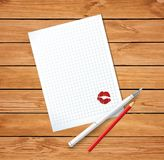 Clean sheet with red kissmark, fountain pen and red pencil Royalty Free Stock Images