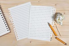 Clean sheets from notebook Stock Images