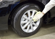 Clean_and_Shine_Automobile_Tire_and_Wheel Stock Images