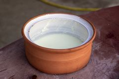 Clean shoot of traditional handmade yoghurt cup royalty free stock photography