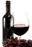 Clean shot of red wine and grapes Stock Images