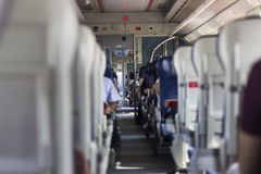 Clean shot in suburb train on the road. From İzmir to Tire Royalty Free Stock Photography