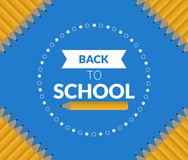 Clean Simple Back to School banner poster blue design. Clean Simple Back to School banner poster blue Vector illustration design Stock Photography