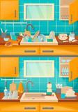 Kitchen sink with clean and dirty dishes before, after cleaning. Clean sink with kitchenware of modern kitchen with furniture and utensils. Washing dishes vector illustration