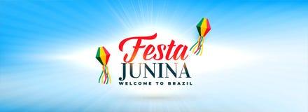 Clean sky with festa junina decorative lamps banner. Vector vector illustration