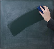 Clean the Slate, centered composition. Teacher cleaning the chalkboard, suits centred composition Stock Image