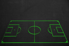 Clean soccer field drawing with green chalk on a dark chalkboard. A clean soccer field drawing with green chalk on a dark chalkboard with a lot of copyspace Royalty Free Stock Photo