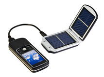 Clean solar. Charges your mobile phone from the solar Royalty Free Stock Photography
