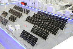 Clean solar energy plant. Power plant factory  with solar energy technology Royalty Free Stock Photo