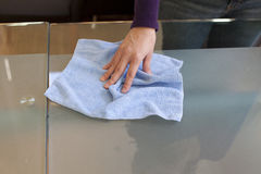 Clean table with micro fiber cloth stock photos