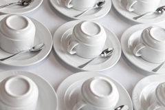 Clean tea sets on table Stock Images