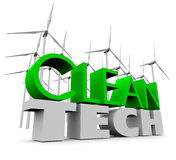 Clean Tech Windmill Farm Renewable Energy Wind Turbines. Clean Tech words in 3d letters with a farm of windmillls or turbines to harness the power and energy of Stock Photo