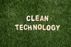 Clean Technology Wooden Sign On Grass Royalty Free Stock Photo