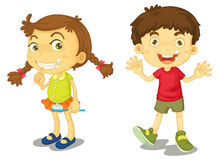 Clean teeth. Boy and girl with clean teeth Royalty Free Stock Image