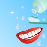 Clean teeth concept. With smiling mouth, tooth brush and paste in the background and wording Stock Photography