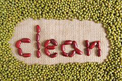 Clean text made by group of beans and lentils Stock Photos