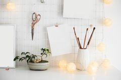 White home office room interior, bloggers workplace Royalty Free Stock Photos