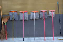 Clean tools portfolio. The Combination of Clean tools with Mops and Broom Stock Images