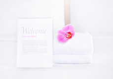 Clean towel and empty blank for your text Stock Images