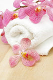 Clean towel with orchid Royalty Free Stock Image
