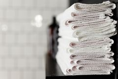 Clean towels in the Barber shop. Stack Royalty Free Stock Image