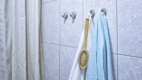 Clean towels in the bathroom stock photos