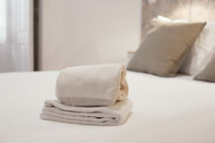 Clean towels in a bright room Stock Photos