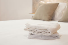 Clean towels in a bright room Royalty Free Stock Photo