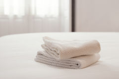 Clean towels in a bright room Stock Image