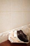 Clean towels in modern bathroom Stock Photos