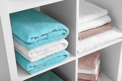 Clean towels on shelves. Clean towels on the shelves Stock Photos