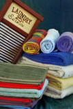 Clean towels with washboard Royalty Free Stock Photography