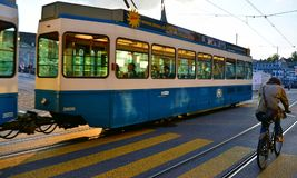 Clean transportation. Tram in Zurich. Two example of eco-friendly transportation Royalty Free Stock Photos