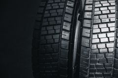 Clean Truck Tyre, black new shiny car tire Royalty Free Stock Images