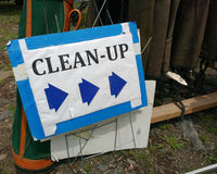 Clean Up Sign, Cleanup in New Jersey, USA Stock Photo