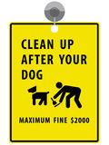 Clean up after your dog sign. Hanging on white background Stock Image