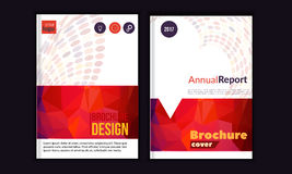 Clean Vector annual report. Brochure template, book cover layout design, Abstract triangle red presentation templates. A4 size Stock Photos