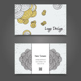 Clean Visit Card Design. Visit Card with hand drawn abstract elements. Hand Drawn Business Card Design Royalty Free Stock Photo