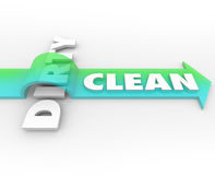 Clean Vs Dirty Arrow Over Word Cleanliness Wins Stay Safe Health Stock Photo