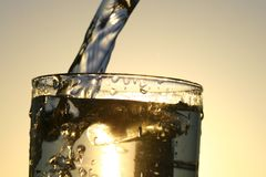 Clean water. Clean cold water in glass Stock Photos