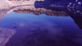 Clean water with a clear blue water and red shore stock footage
