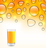 Clean Water Droplets with Orange Juice Stock Image