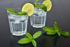Clean water in a glass of ice cubes, lemon and fresh mint. Water cup for solid health. Stock Photos