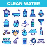 Clean Water Line Icon Set Vector. Nature Care. Drop Fresh Clean Water. Drink Eco Icon. Thin Outline Web Illustration royalty free illustration